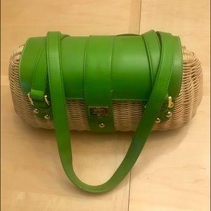 Etienne Aigner Vintage Wicker & Green Purse